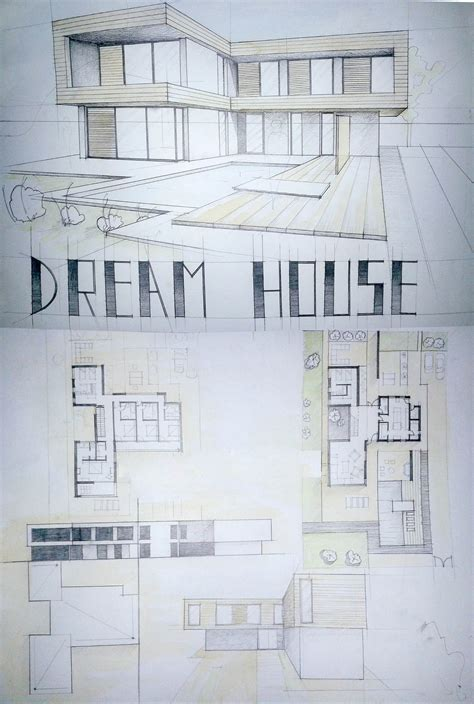 floor plan and perspective modern house drawing perspective floor plans design