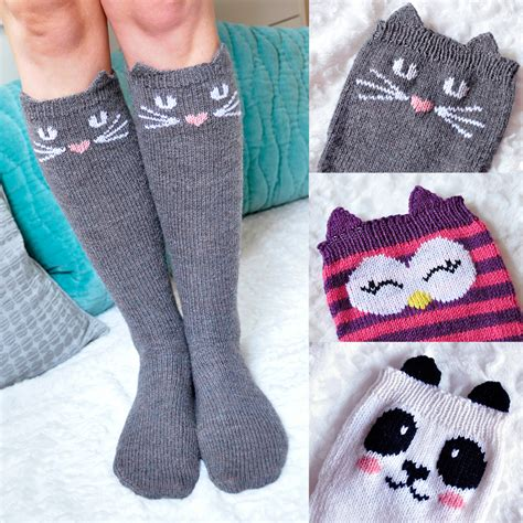 knitted animal socks check meowt animal knee high socks girly knits
