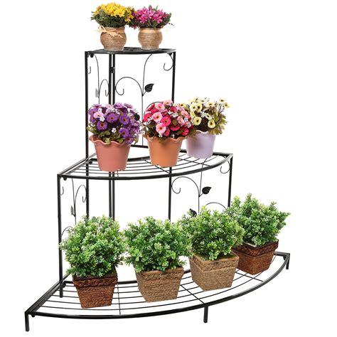 garden flower stands delightful 3 tier flower planters design with wrought iron