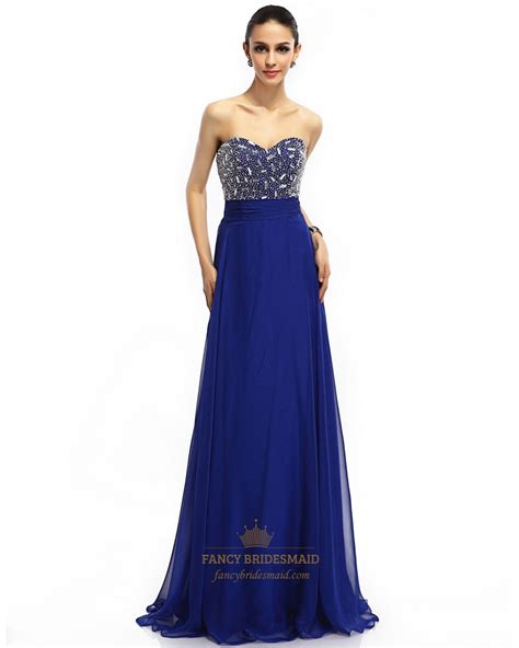 royal blue beaded dress royal blue chiffon sweetheart beaded bodice prom