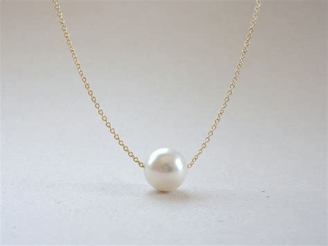 pearl jewelry single pearl necklace floating pearl necklace bridal by