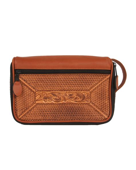 tooled leather goods will leather goods tooled leather travel kit in brown for