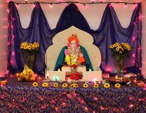 decorations made at home ganpati decoration ideas at home images with flowers