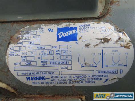 Doerr Electric Motor by Doerr Lr22132 Ac 1 1 2hp 3450rpm H56hcz 1ph Electric Motor