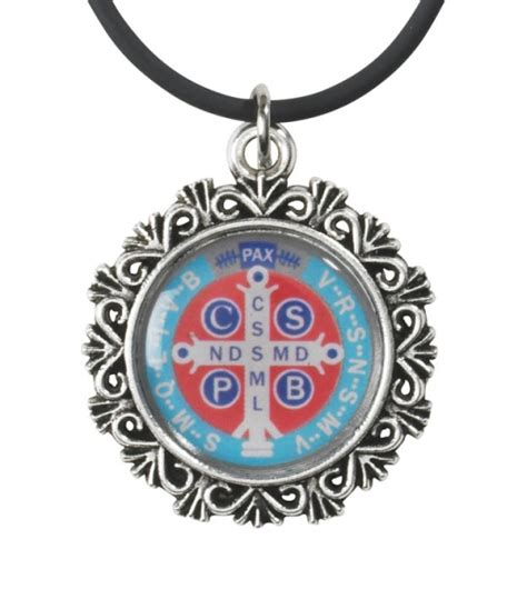catholic rubber sts st benedict epoxy pendant with a rubber cord