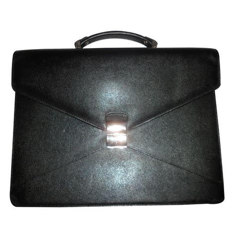 sacs lancel serviette porte document cuir noir ref 14634 joli closet