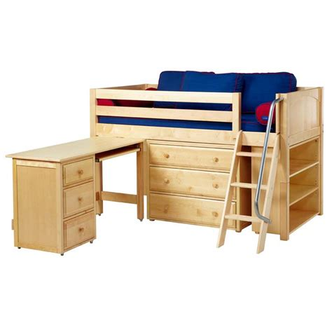 Low Loft Bed With Desk And Dresser by Kicks Low Loft Bed With Dressers Bookcase And Desk