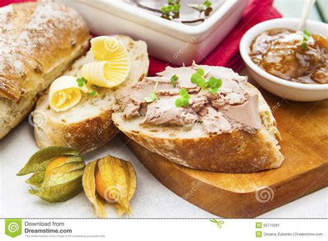 goose liver and sauternes pate with chutney physalis sliced br stock image image 55772091