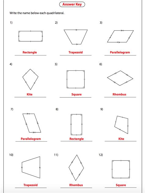 Identifying Quadrilaterals Worksheet With Answers Breadandhearth