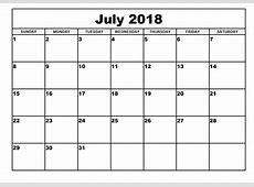July 2018 Calendar calendar month printable