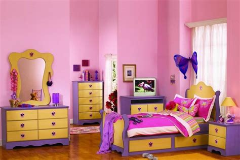 Girls Bedroom Gorgeous Yellow Pink And Purple Girl Bedroom