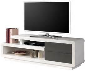 salon meuble tv laqu 233 blanc et gris 224 2 tiroirs pas cher comforium