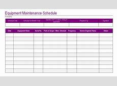 Equipment Maintenance Schedule Template Excel planner