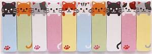 cute funny colorful cat slim bookmark stickers sticky ...
