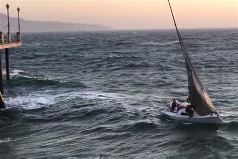 Redondo Beach Boat Crash Into Pier by Horrifying Moment Sailors Are Thrown Head First Into The