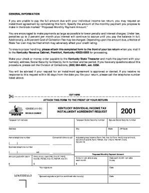 kentucky revenue cabinet installment agreement fill printable fillable blank pdffiller