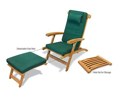 serenity teak steamer chair with wheels and green cushion jati brand quality value garden