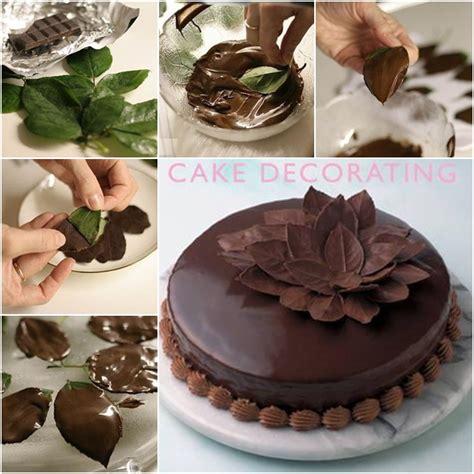 diy chocolate leaf for cake decorating