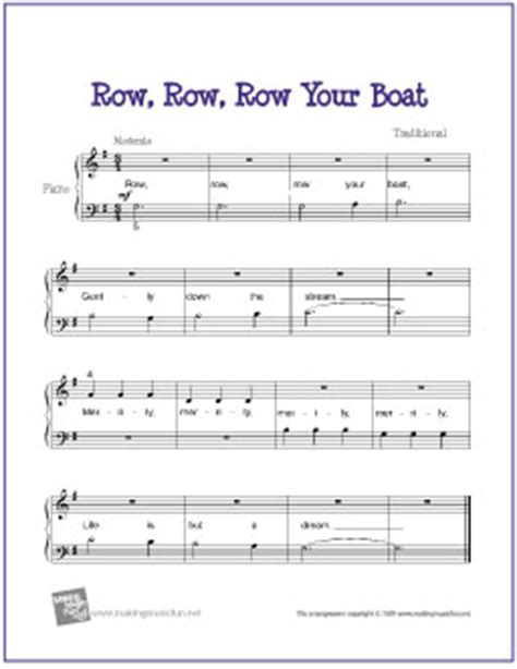 Sheet Music Row Your Boat by Row Row Row Your Boat Free Beginner Piano Sheet Music