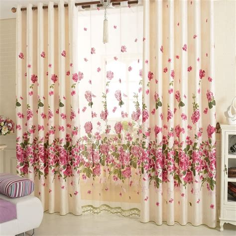 beautiful floral curtains cotton material pastoral curtain