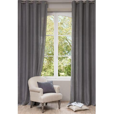 rideau 224 œillets en lav 233 gris 130 x 300 cm maisons du monde