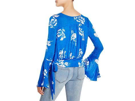 Free People Fiona Floral Print Top In Blue