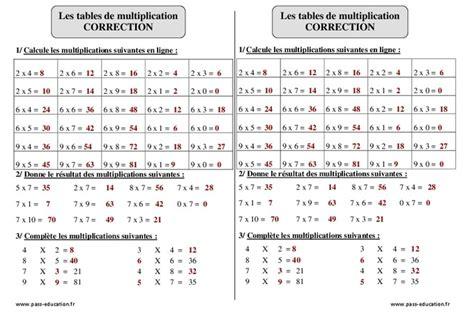 tables de multiplication ce2 exercices corrig 233 s calcul math 233 matiques cycle 3 pass