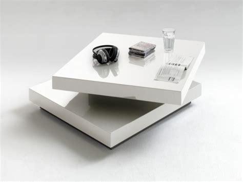 table basse carree pivotante blanc laque margo