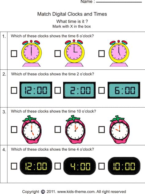 Time Worksheets Matching Digital Worksheets For All  Download And Share Worksheets  Free On