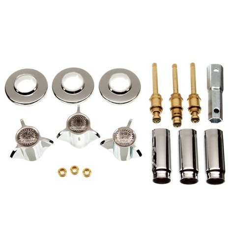 3 handle valve tub shower rebuild trim kit for sayco faucets in chrome 39620 the home depot