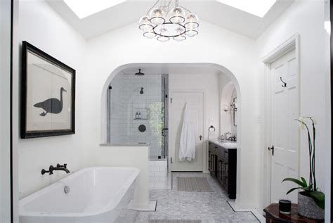 Vaulted Ceiling With Skylights  Transitional Bathroom