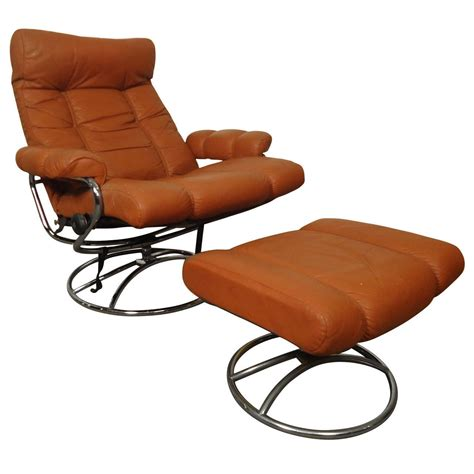 mid century reclining chair and ottoman by ekornes stressless for sale at 1stdibs
