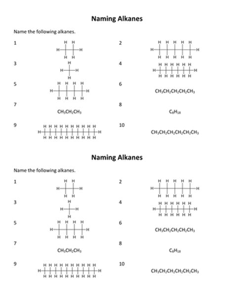 Naming Alkanes Worksheet By Porbital  Teaching Resources