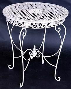 Tisch Rund Weiß : eisen tisch rund gartentisch metall terassentisch weiss ebay ~ Markanthonyermac.com Haus und Dekorationen