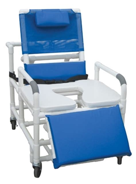 reclining pvc shower chair with sliding footrest