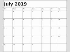 July 2019 Calendar calendar month printable