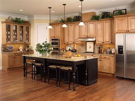 maple honey chocolate kitchen cabinets with miland island from wellborn forest oak