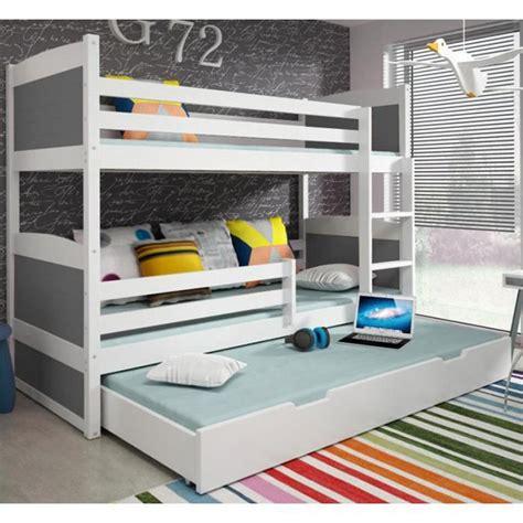 lit superpos 233 3 en pin 185x80 blanc achat vente lit superpose pas cher couleur et