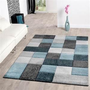 Teppich Grün Türkis Blau : teppich wohnzimmer modern karo muster mit konturenschnitt in t rkis grau blau moderne teppiche ~ Markanthonyermac.com Haus und Dekorationen
