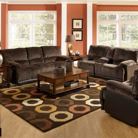 spacious living room design with wall color and brown