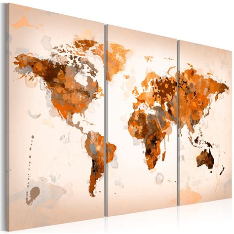 grand format impression sur toile images 3 carte du monde tableau 020113 251