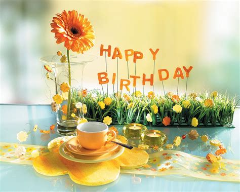 Cup Of Tea With Sunflower Happy Birthday Graphic Share On Facebook Wall   imagefully.com