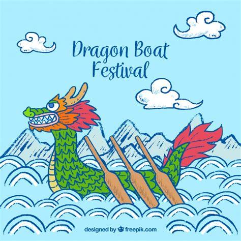 Dragon Boat Festival Vector by Hand Drawn Dragon Boat Festival Background Vector Free