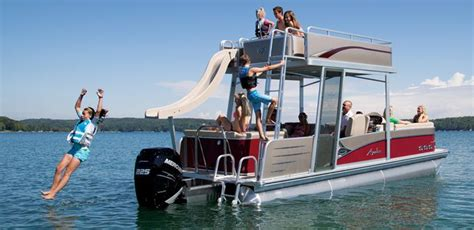Pontoon Party Boat With Slide by Windjammer Funship Double Decker Pontoon Boat Avalon