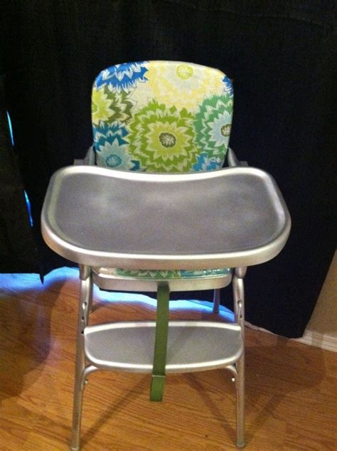 vintage cosco highchair makeover recovered the chair with new fabric and clear vinyl for easy