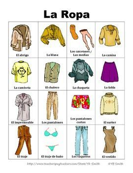 Free Spanish Clothing Vocabulary In Picture Form Really Great To Help Your Visual Learners