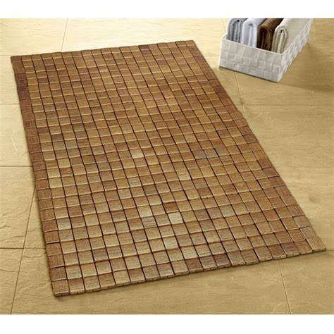 kleine wolke mosaic wood bath mat 500 x 700mm brown