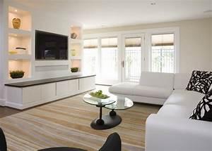 Fernseher Aufhängen Höhe : moderne wohnwand mit led beleuchtung 55 ideen ~ Markanthonyermac.com Haus und Dekorationen