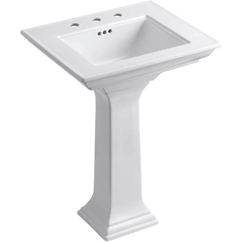 shop kohler memoirs 34 75 in h white clay pedestal sink at lowes