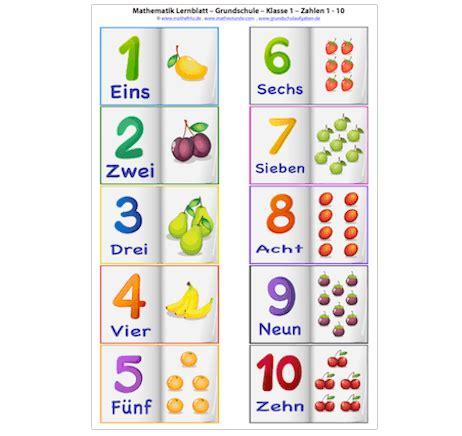 Lernblatt Zahlen 110  lerne Zahlen mit Mathefritz